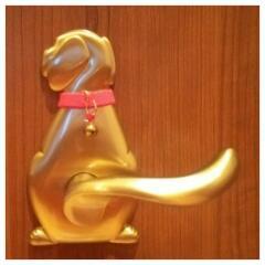 犬の美容室「あとむ」 ドアノブ